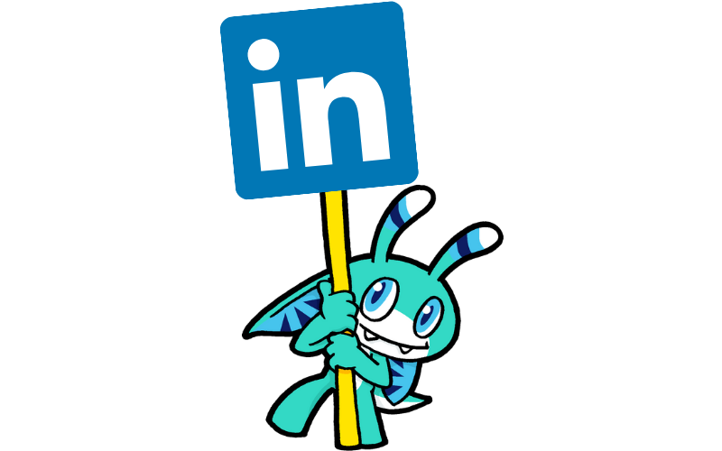 Pyxel, the Skillsearch Mascot, holding a sign with the LinkedIn logo
