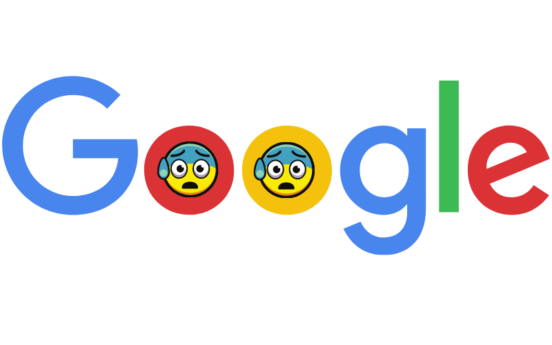 Google logo with stressed faces within the double o's
