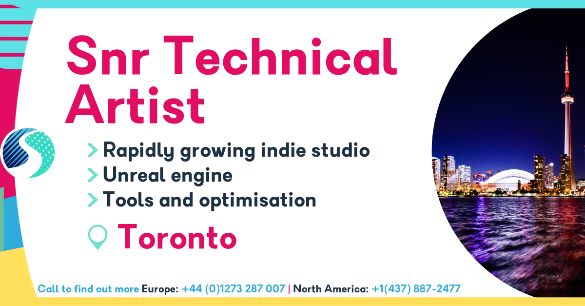 Senior Technical Artist in Toronto - Rapidly growing indie studio - Unreal Engine - Tools and optimisation