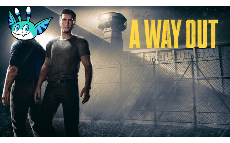 Image of 'A Way Out' title page but with Pyxel's head replacing one of the characters