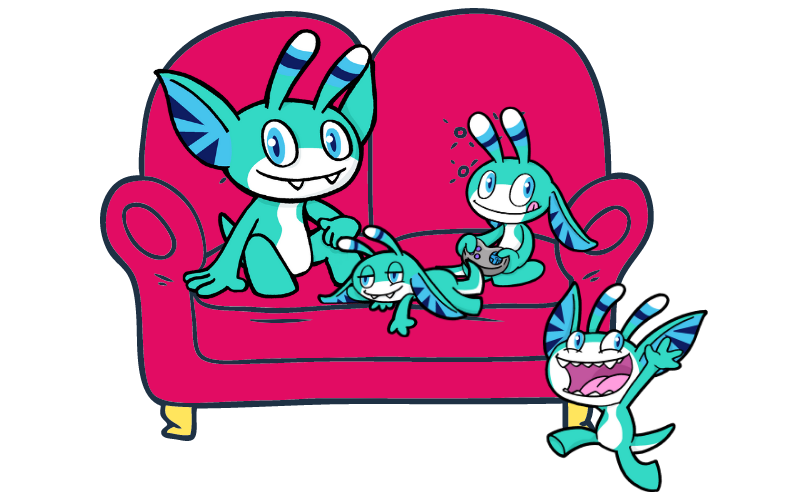 Pyxel sitting on a sofa with smaller/younger versions of himself representing childdren