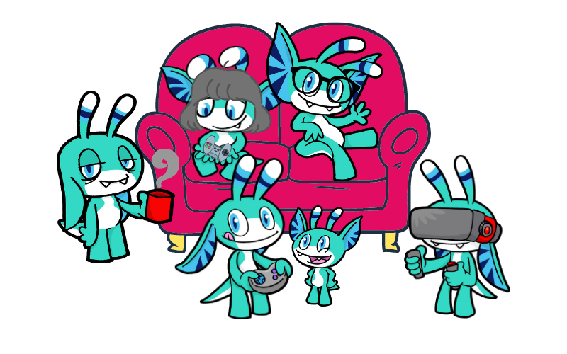 Various versions of Pyxel sitting on and around a sofa representing different members of the family