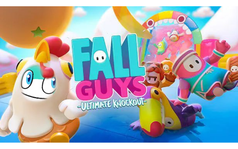 A promotional image of Fall Guys with Pyxel's face as the face of one of the characters