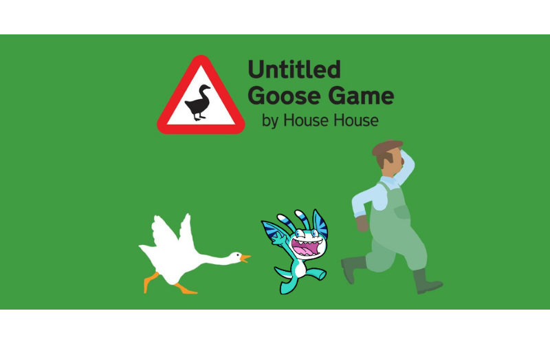 Promotional Image of Untitled Goose Game but with Pyxel being chased by the goose as well as the other character
