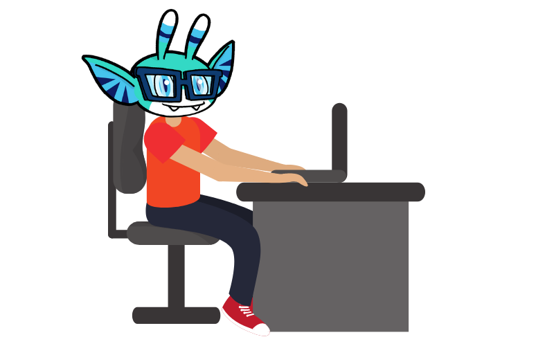 Pyxel working at his desk - Start a new job remotely blog