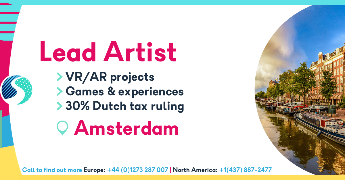 Lead Artist - Amsterdam - VR/AR Projects - 30% Dutch Tax Ruling - Games and Experiences