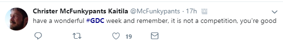 McFunkypants GDC tips tweet
