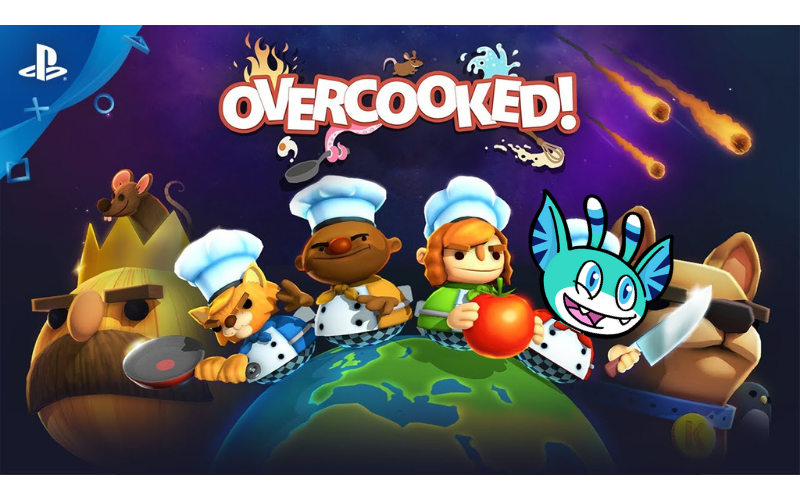 Promotional image of Overcooked  but with Pyxel's head replacing one of the characters