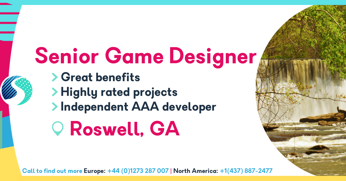 Senior Game Designer in Roswell, GA - Highly Rated Projects - Indie AAA Developer - Excellent Perks & Benefits Structure