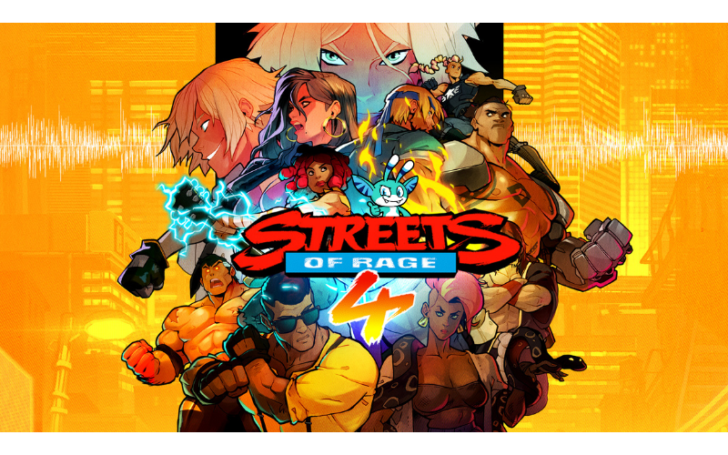 Streets of Rage 4 title promotional image with Pyxel superimposed so it looks like he is a character in the game