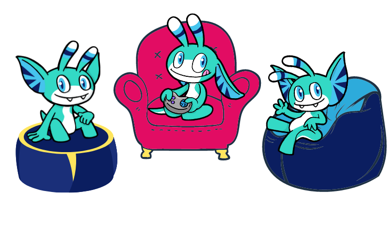 Versions of Pyxel with one sitting on an armchair and the other two sitting on beanbags
