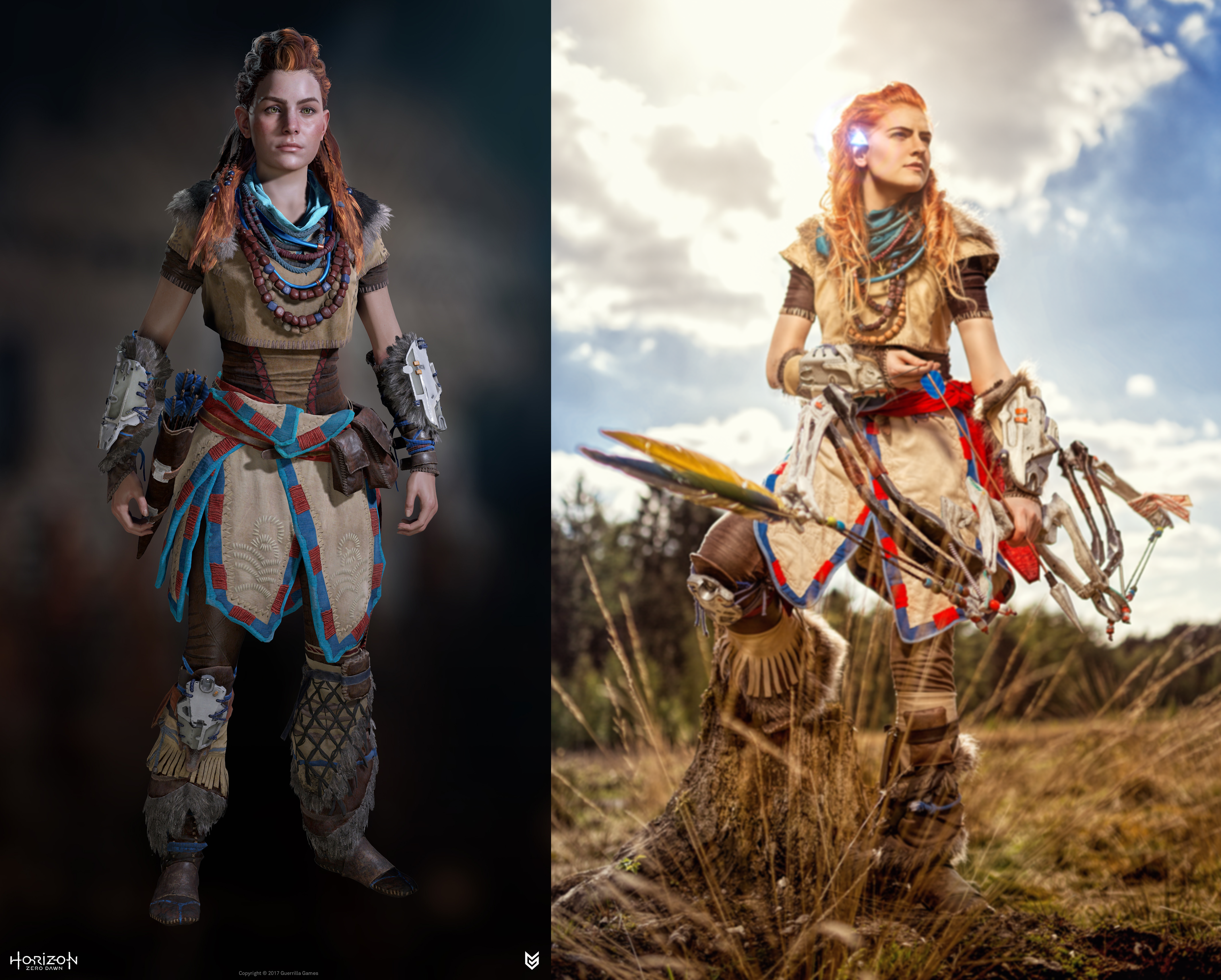 Image of the character Aloy next to MsSkunk in cosplay as Alloy